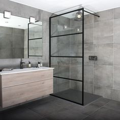 A black art deco style framed shower screen by Drench. Do you like the style as opposed to just a black frame? Slate Bathroom, Bathroom Layout, Modern Bathroom Design, Bathroom Interior Design, Cream Bathroom, Simple Bathroom, Bathroom Designs, Bathroom Flooring, Bathroom Ideas