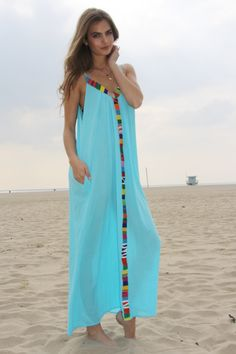 PORTOFINO cover up in caribe w/Ecuadorean trim — 9seed | Designer Beach Coverups