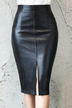 Black PU Leather Skirt Women 2020 New Midi Sexy High Waist Bodycon Split Skirt Office Pencil Skirt Knee Length Plus Size Leather Midi Skirt, Black Midi Skirt, Pencil Skirt Black, Pencil Skirts, Pencil Dresses, Maxi Skirts, Casual Skirts, Sexy Skirt, Denim Skirt