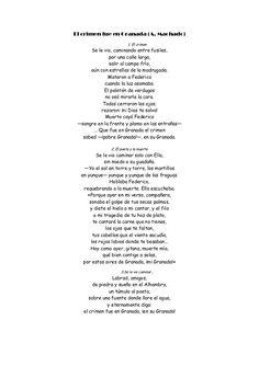 """""""El crimen fue en Granada"""" es uno de los últimos poemas que escribe. Escrito en 1936, habla sobre la muerte de Federico García Lorca. Parte de lo que llamamos sus """"Nuevas canciones"""", donde destacan los destinados a Guiomar y algunas poesías de guerra, como ésta, que coincide con el estallido de la guerra civil.   Machado es del bando republicano y en sus poemas se ve reflejado esto."""