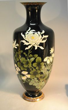 Japanese Black Cloisonne Floor Vase with Dasies and Chrysanthemum | eBay