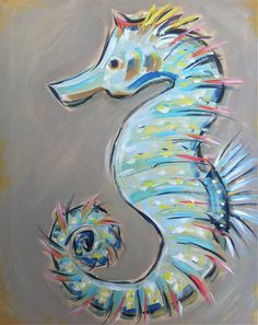 Seahorse Painting Canvas large aqua navy coral by DevinePaintings