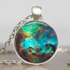 Nebula turquoise space pendant , astronomy geek jewelry, sci-fi science galaxy space necklace with gift bag