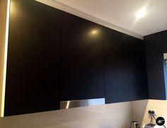 Matte Black Kitchen Makeover for an apartment in Bondi (Australia) #fridgewrap #cupboardwrap #kitchenmakeover