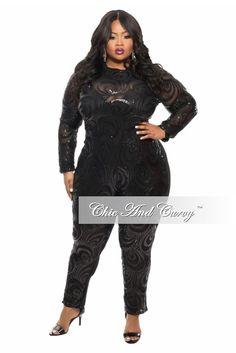 New Plus Size Sequin Jumpsuit with Back Cutout in  Black - Chic And Curvy