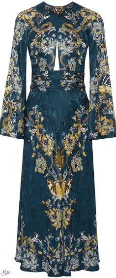 Roberto Cavalli Embellished Satin-jacquard Midi Dress In Blue Avio Blue Satin Dress, Satin Cocktail Dress, Satin Midi Dress, Blue Midi Dress, Jacquard Dress, Satin Dresses, Cocktail Dresses, Midi Dresses, Midi Dress Sale