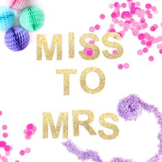 Miss to Mrs Hen Party Gold and Silver Glitter Garland Decoration