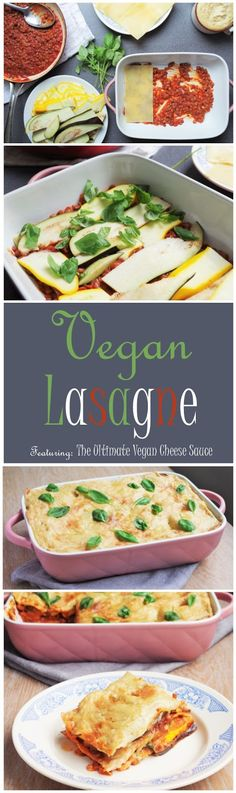 Vegan Lasagne - a lentil and tomato base, layered between lasagna sheets and aubergine & courgette slices - topped with the ultimate vegan cheese sauce