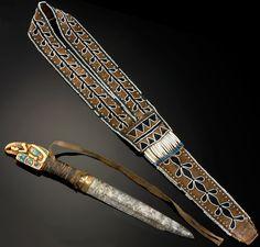 Knife and sheath associated with Chief Shakes VI (Tlingit b.?–1916)  ca. 1840–1890  Etolin Island, Alaska  Iron, brass, ivory, abalone, caribou hide, wool cloth, cotton cloth, glass beads, dentalium shell