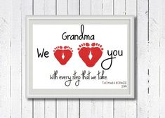 Baby Footprint Art, Baby Footprints, Footprint Art, Footprint Keepsake, Baby Gift, Nursery Print, Personalised Baby Gift, New Grandma Gift, New Grandad Gift, Nana Gift,