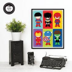 SUPERHERO Wall Art Superheroes Digital Art Printable Boys Nursery - Superhero wall decalssuper hero wall art etsy