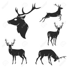 Set Of Black Forest Deer Silhouettes. Suitable For Logo, Emblem,.. Royalty Free Cliparts, Vectors, And Stock Illustration. Image 43554545.