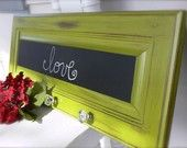 Cabinet door, drawer pulls, and chalk board paint.
