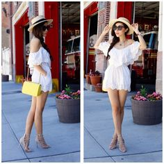 Get this look: http://lb.nu/look/7529230  More looks by Sasa Zoe: http://lb.nu/shallwesasa  Items in this look:  Romper, Sandals, Sunglasses, Hat, Bag   #casual #chic #romantic