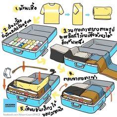 How to packing luggage. วิธีแพ็คกระเป๋าเดินทางแบบประหยัดพื้นที่