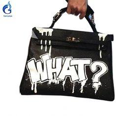 9e5e4433bd8 Graffiti Women Genuine Leather crossbody bags for Women Messenger Bags Hand  Painted Custom name designer handbags ladies totes