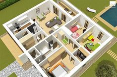 Perfect size of rooms, plenty of storage space and a sheltered terrace ensures that this bungalow is an ideal house for a family of four. Guest House Plans, House Layout Plans, My House Plans, House Layouts, Modern Bungalow Exterior, Bungalow House Design, House Plans Mansion, Beautiful House Plans, Architectural House Plans