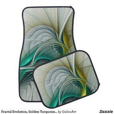 Fractal Evolution, Golden Turquoise Abstract Art Car Floor Mat