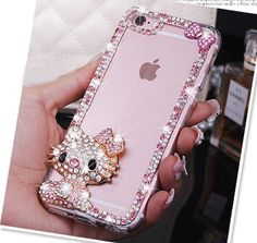 Bling Rhinestone Hello Kitty Phone Case For Samsung S8 S7 S6 Edge Note 3 4 5 iPhone 5s SE 6s 7 Plus