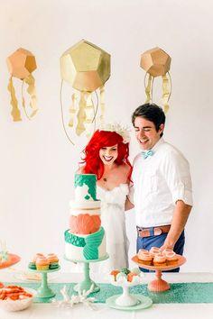 Traci Hines [as Ariel] & Leo Camacho [as Eric] (Fantasy Wedding by LaurenGrey3 @Instagram) #TheLittleMermaid