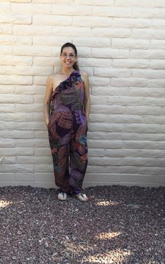 Vintage Lillie Rubin Morton Myles Purple Hawaiian Jumper One Shoulder Sz M Vintage Jumpsuit, Hawaiian Print, Jumper, Harem Pants, Cotton Fabric, One Shoulder, Purple, Etsy, Tops