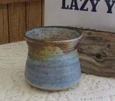 Blue Hand Thrown Pottery Vintage Small Indoor Gardens and Plants Succulent Planters