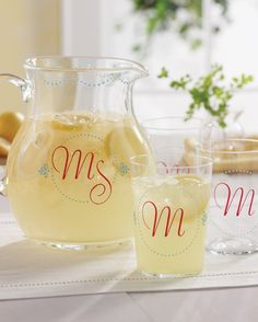 Make it personal with lovely letters and dainty dots added to the sides of a glass pitcher set. Click through to get the project!