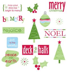 Christmas titles and clip art, PNG files, holiday printables, scrapbooking titles, card making clip art