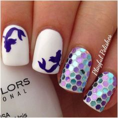 Playful Polishes: MERMAID NAIL ART adding the sparkles to the rest of the nails would be super cute too! Get Nails, Fancy Nails, Love Nails, Fabulous Nails, Gorgeous Nails, Pretty Nails, Nail Art Mignon, Nails Polish, Manicure E Pedicure