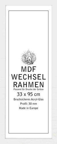 Wechselrahmen für Poster der Grösse 33x95 cm aus MDF Holzfaserwerkstoff. Aussenmaß 36x98 cm, Holzoptik weiss. 30mm Profil mit Acrylglas von Empire Merchandising GmbH, http://www.amazon.de/dp/B00AEZWA18/ref=cm_sw_r_pi_dp_lFaZrb14DF728