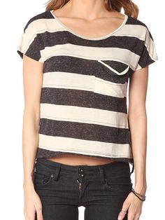 Papaya Clothing Online :: FRONT POCKET WIDE STRIPE TOP US$15.99
