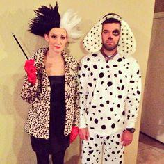 Pin for Later: 50+ Adorable Disney Couples Costumes Cruella de Vil and Dalmatian Puppy