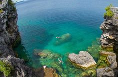 The Grotto was carved out by the waves of Georgian Bay over thousands of years ago. It has the bluest water in Ontario! Popular Things, Lake Huron, Best Places To Live, Future Travel, Travel With Kids, Hiking Trails, Trip Planning, Travel Ideas, Ontario