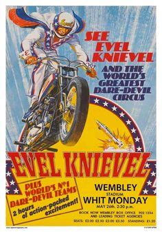 Evel Knievel Toys, Evil Kenevil, Retro, Motorcycle Posters, Motorcycle Events, Motorcycle Art, Vintage Motocross, Wembley Stadium, Vintage London
