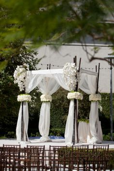 This simple linen and organza fabric Chuppah had a black bamboo frame. Floral tie backs gathered the organza for this summery Chuppah with sprays of white Phalaenopsis Orchids cascading from the top. Wedding Reception Planning, Wedding Events, Weddings, Mod Wedding, Dream Wedding, Gazebo Wedding Decorations, Jewish Wedding Traditions, Photos Booth, Invitation