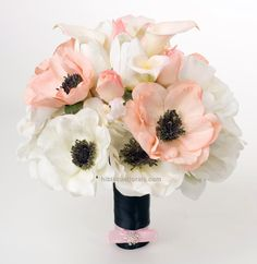 White & Blush Pink Anemones Real Touch Modern Wedding Bouquet