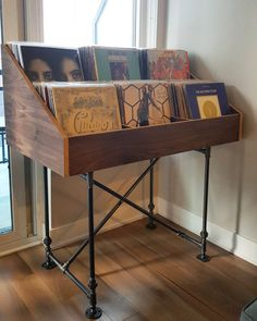 Rustic retro pipe and wood record display case vinyl Vinyl Record Display, Record Shelf, Vinyl Record Storage, Lp Storage, Craft Storage, Vinyl Record Stand, Vinyl Records, Storage Ideas, Audio Room