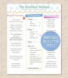 Printable KonMari Method Sheet  Declutter  Tidying  by CrownedMoon