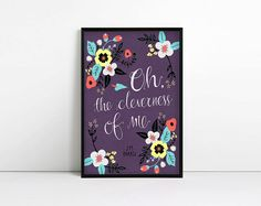 Peter Pan quote Typography Print Oh the cleverness by AbbieImagine