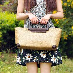 Nuevo llega Vintage Original tailandia hechos a mano puro bambú ratán armadura de la mujer bolsos moda Vintage Brass bolsas de mano