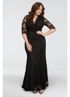 Screen Siren V-Neck Lace Plus Size Gown 13130902