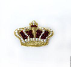 Купить Корона брошь с жемчугом натуральным ручная работа красный желтый - красный, желтый, бордовый