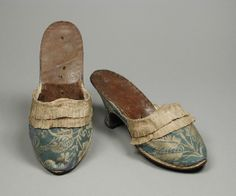 Mules: ca. 1770-1780, German or Italian, silk plain weave with silk supplementary weft-float patterning, silk plain-weave trim, and leather.
