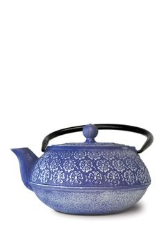 Blue Cast Iron Teapot Stainless Steel Infuser & Loose Green Tea by Primula on @HauteLook