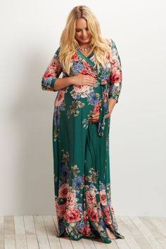 Green Floral Sash Tie Plus Size Maternity/Nursing Maxi Dress