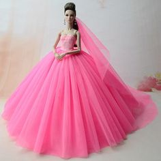 NK Doll Dress High quality Handmade Long Tail Evening Gown Clothes Lace Wedding Dress +Veil For Barbie 1:6 Doll Best Gift