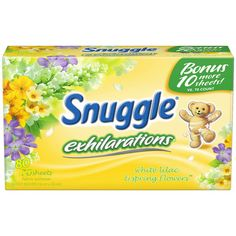 Snuggle Exhilarations White Lilac & Spring Flowers Fabric Softener Dryer Sheets, 80 count