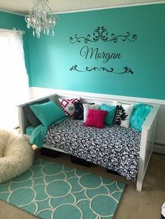 Teen Girl Bedrooms - Wonderful range of bedroom decor images. For further styling information why not jump to the pin-link for the site 9987178355 right now. Teen Girl Rooms, Teenage Girl Bedrooms, Teen Bedroom, Teal Rooms, Bedroom Turquoise, Tiffany Blue Bedroom, Purple Bedrooms, Bedroom Colors, Bedroom Decor