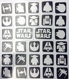REFILL STENCILS ONLY KIT 27 - STAR WARS 32 STENCILS WINE GLASS ETCHING ON GLASS GLASSWARE PAINTING AIRBRUSH ART PERSONALIZE
