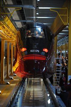 New Italian High Speed Train  Factory maintenance red dark front black shadow fast ready